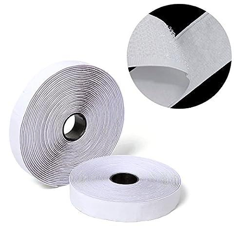rouleaux de Velcro autoadhésif, Elebor 5 m adhésif Crochet et passant Lot de colle avec fermeture Tissu en nylon, largeur 2 cm, Blanc