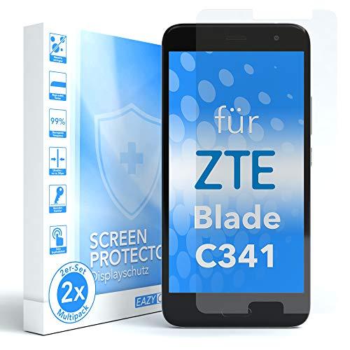 EAZY CASE 2X Panzerglas Bildschirmschutz 9H Härte für ZTE Blade C341, nur 0,3 mm dick I Schutzglas aus gehärteter 2,5D Panzerglasfolie, Bildschirmschutzglas, Transparent/Kristallklar