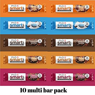 PhD Smart protein bars 5 flavours multi pack 2 x each flavour bar low sugar cards by Phd