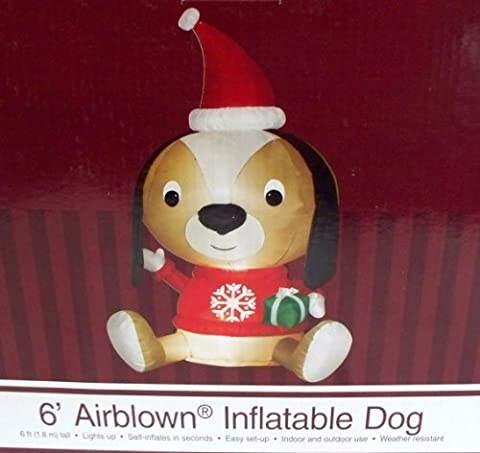 Hund Santa Claus 6ft. Hoch Weihnachten Airblown aufblasbare