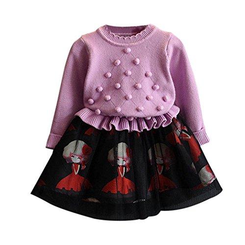 Woll-socken Kleinkind (OverDose Kinder Baby Mädchen Strickpullover Winter Kleidung Crochet Pullover Patchwork Gestrickt Kleid Weihnachten Party Kleid(4-5T/110CM,A-Violett))