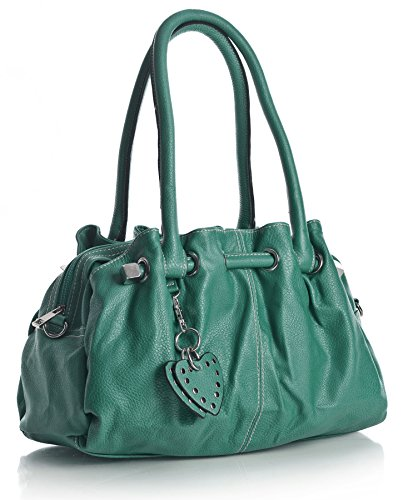 - 51Vo9gwF6vL - Big Handbag Shop Womens Multi Pocket Heart Charm Medium Shoulder Bag (1033-3 Teal Blue)