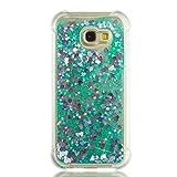 BoxTii Galaxy A5 2017 Hülle [mit Frei Panzerglas Displayschutzfolie], Glitzer Liquid Ultra Dünn TPU Silikon Schutzhülle Case für Galaxy A5 2017 (Grün)