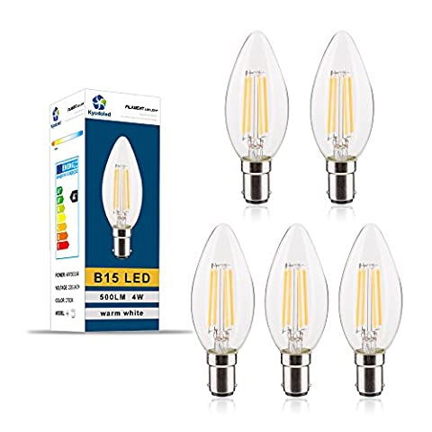 LED Filament Bulb B15 4W, 40W Incandescent Bulb Equivalent, C35 Warm White (2700K), 500 Lumens, eco-friendly and energy saving led bulbs, Pack of 5 Unit