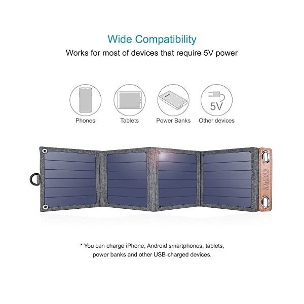 Solar Charger, CHOETECH 14W Waterproof Portable USB Outdoor Solar Panel Charger with 4 Foldable Solar Panel for… 4