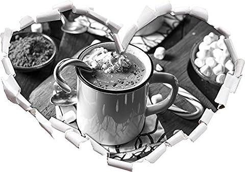 heisse Schokolade mit Zuckerstange Kunst B&W Herzform im 3D-Look , Wand- oder Türaufkleber Format: 92x64.5cm, Wandsticker, Wandtattoo, Wanddekoration