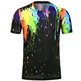 KPILP Herren T Shirt Graffiti 3D Printing Sweatshirt Cool Boy Favourites(Black,Large)