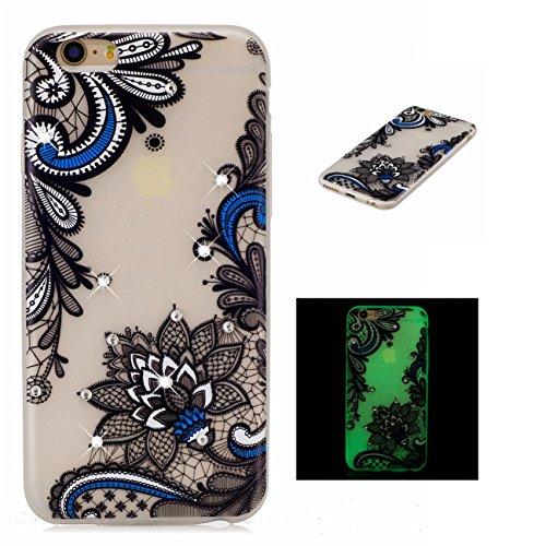 Apple iPhone 6/6S 4.7 hülle, Voguecase Schutzhülle / Case / Cover / Hülle / TPU Gel Skin mit Nachtleuchtende Funktion (Grüne Blätter 02) + Gratis Universal Eingabestift Blaues Muster 01