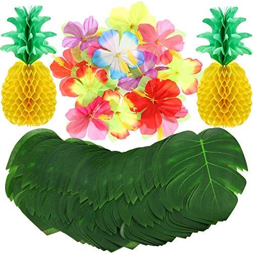 Luau Hawaiian Tropisch Dschungel Partei Deko Set, 98 Stücke Insgesamt, Einschließen 48 Stücke Tropisch Palm Simulation Blättern, 48 Stücke Seiden Blumen und 2 Stücke Seiden Papier Ananas - Hibiskus-blumen Papier