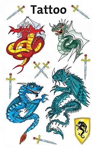AVERY Zweckform 56404 Temporäre Tattoos Drachen (Kindertattoos, dermatologisch getestet, Kindergeburtstag, Kinder zum Spielen) 11 Motive für Jungen (Joker Temporäre Tattoo)