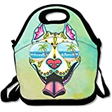 Pit Bull Sugar Skull With Sunglass Handy Portable Zipper Lunch Box Lunch Tote Lunch Tote Bags