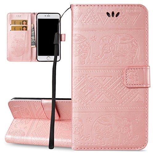 Custodia iPhone 6 Plus, ISAKEN Custodia iPhone 6S Plus, iPhone 6 Plus Flip Cover, Elegante borsa Design Custodia in Pelle Protettiva Portafoglio Case Cover per Apple iPhone 6 5.5/ con Strap / Support Elefante: rose gold