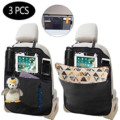 3 Stück Auto Rückenlehnenschutz, Wasserdicht Autositz Rückenlehnenschutz Kinder,Auto Rücksitz Organizer für Kinder, Multifunktionen Große Taschen und iPad-/Tablet-Halter, Kick-Matten-Schutz für Auto