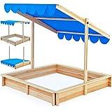 Deuba Sandkasten Spielhaus Holz Verstellbares Dach Sandbox Sandkiste Kinder 140x140cm