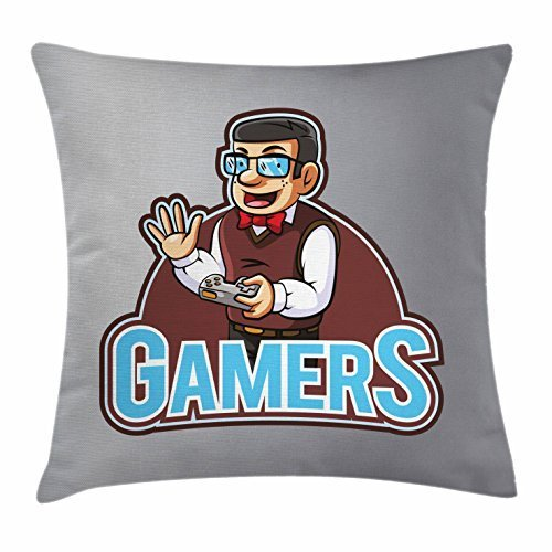 Gamer Throw Pillow Cushion Cover, Nerdy Guy Figure with Bow Tie Glasses and Vest Holding a Console Videogame Controller, Decorative Square Accent Pillow Case, 18 X 18 Inches, Multicolor