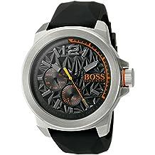 """BOSS Naranja Hombre """"Nueva York de cuarzo reloj Casual de Silicona y acero inoxidable, color: negro (modelo: 1513346)"""