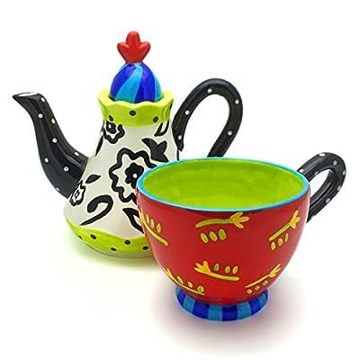 El & Groove Théière avec tasse–Théière Céramique Avec Tasse dans Couleurs Chatoyantes et au design außergewöhnlichen la main, coffret cadeau Théière avec tasse pour une Personnes Idée de Cadeau