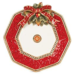 Fitz & Floyd Damask Holiday Collection Platter, Vintage Red & Gold By Fitz & Floyd