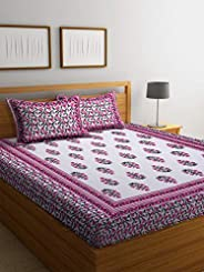 Boutique Bedding Queen Size 100 Cotton 250TC Bedsheet with 2 Pillow Covers (Pink and White, 235x225 cm)