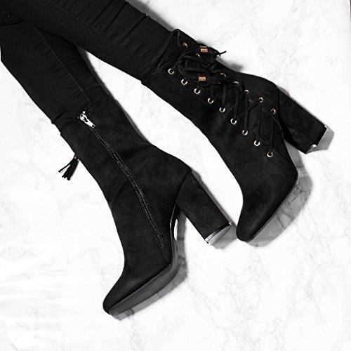 SPYLOVEBUY COYOTEE Femmes Lacet à Talon Bloc Bottines Chaussures Noir - Simili Daim