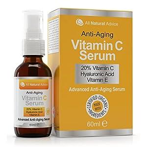 Sérum 20% Vitamina C • Orgánico • 60 ml • Vitamina E • Ácido Hialurónico • Todo Tipo de Pieles • Anti-edad arrugas manchas • Utilizar con Derma Roller • Para Hombres y Mujeres