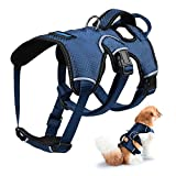 Petacc Hundegeschirr Verstellbarer Hundebrustgeschirr Atmungsaktive Hundeweste mit D-Ring Schnalle für Mittlere und Große Hunde, L