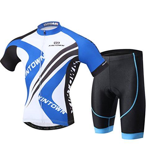 YOUJIA Männer Radfahren Kleidung Set Fahrrad Anzug Outdoor Kurzarmtrikot + Hose Atmungsaktiv Schnell Trocken (Blau #3, 2XL)