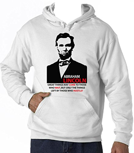 Teesquare1st Men's ABRAHAM LINCOLN GREAT THINGS QUOTE White Hoodie T-Shirt Size Medium