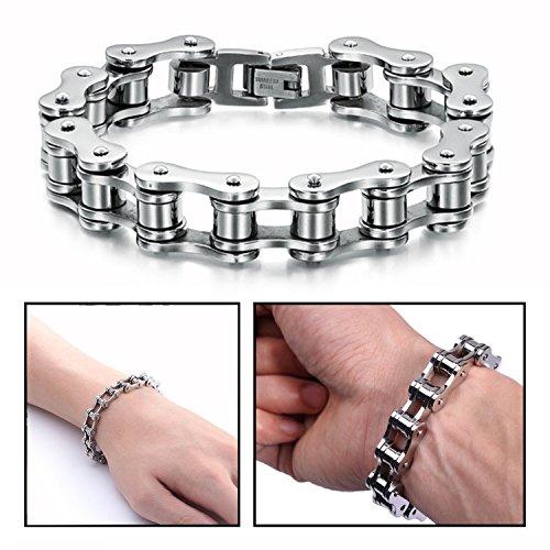 Imagen de ofkpo pulsera para hombre, joyería de acero inoxidable pulsera de cadena de la bici para los hombres pulsera largo