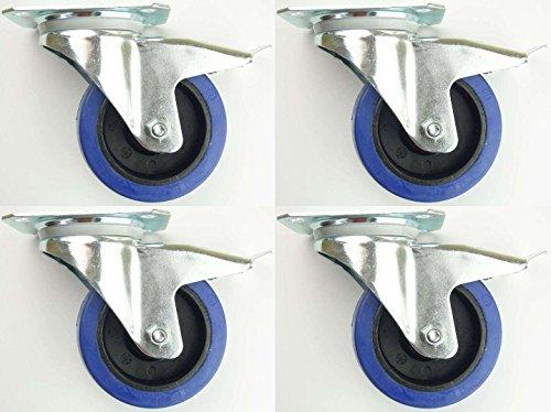4 Stück 100mm Blue Wheels Lenkrollen mit Feststellbremse / Bremse FS Transportrollen 180kg/Rad - INDUSTIREQALITÄT -