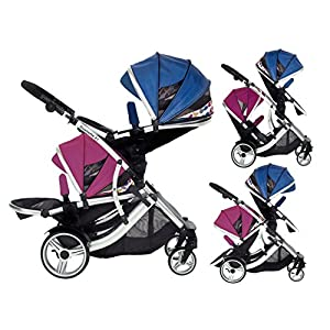 Kids Kargo Duellette 21 BS Travel System Pram Double Pushchair (Raspberry and Blueberry) Kids Kargo The carrycot when converted to seat unit, can be rear or forward facing. Versatile. Suitable for Newborn and toddler: Carrycot with mattress and soft lining, which zip off. Remove lining and lid, when baby grows out of carrycot mode. Converts to a full sized seat unit, with 5 point harness. Bucket seat unit for toddler or baby over 6 months sits in forward facing bottom position , or forward and rear facing at the top, if car seat used at the bottom. 8
