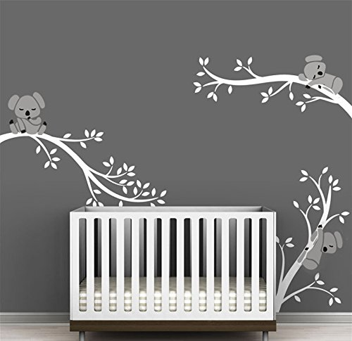 BDECOLL Three Koalas Tree Branches Wall Decal Wall Sticker Baby Nursery  Decor Kids Room (White White): Amazon.co.uk: DIY U0026 Tools
