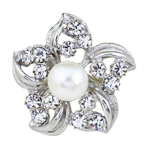 Hosaire 1X Broche Strass en forme Joli Fleur avec Perle Artificielle Broche Femme-Argent(2*2.2cm)
