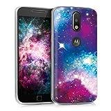 kwmobile Funda para Motorola Moto G4 / Moto G4 Plus - Carcasa de [TPU] para móvil y diseño galáctico en [Multicolor Rosa Fucsia Negro]