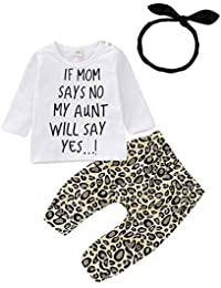 e8b7f927635 Inflant Baby Girl Leopard Outfit Long Sleeve My Aunt Says Yes Shirts Tops  Long Pants Heaband
