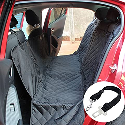 Dog Car Seat Cover Pet Car Back Seat Cover Protector Convertible For Large Animals With Dog Seat Belt and Anchors for Cars Trucks and SUVs - Waterproof, Machine Washable, NonSlip, Padded, Side Flaps and Safety Belt,Black