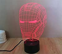 SmartEra® 3D Optical Illusion Iron Man Helmet Panel Model Lighting Night 7 Color Change USB Touch button LED Desk Table Light Lamp from SmartEra®