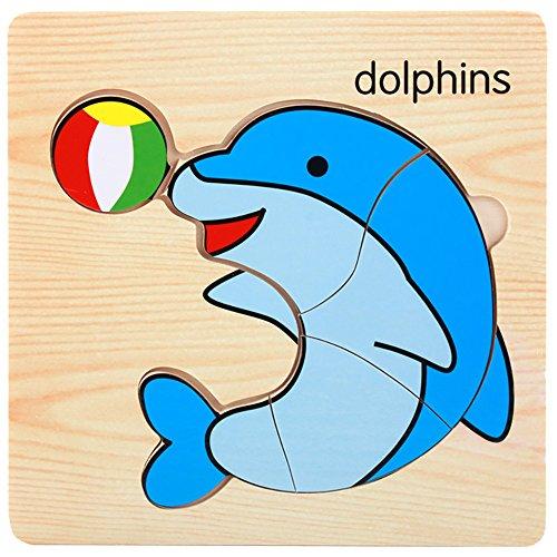 JIUZHOU Enfants Jouets Puzzle pour Enfants éducation précoce renseignement Formation Jouet,Enfants Éducatifs Formation Développement, Jouet-Animal Motif -15 * 15 * 0.5cm