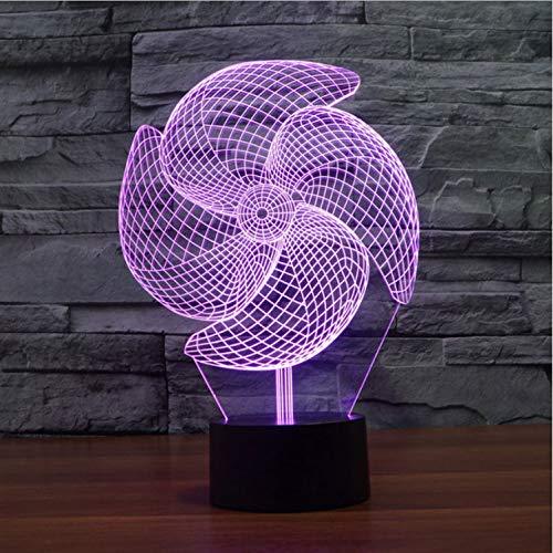 Illusion Lampe 3D Windrad Illusion Led Nachtlichter Berührungsschalter 3D Lampe Kreative Kleine Nacht Ligh Kreative Touch Desktop Lampe Leiste Dekoration