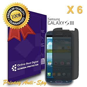 OBiDi - Samsung Galaxy S3 Screen Protector, Anti-Spy / Privacy - OBD Retail Packaging (Pack of 6)
