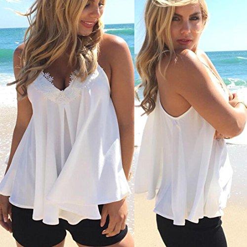 OverDose Damen Lace Chiffon Vest Top Sleeveless Casual Tank Blouse Summer Tops T-Shirt Spitze Weste Sommer Blusen (S, Z-Weiß) - 2