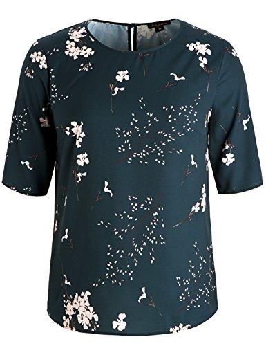Chicwe Damen Blumen Gedruckt Große Größen Tunika Bluse mit Schlüsselloch Hals Teal Grün 1X (Stretch-bootcut Ziehen)