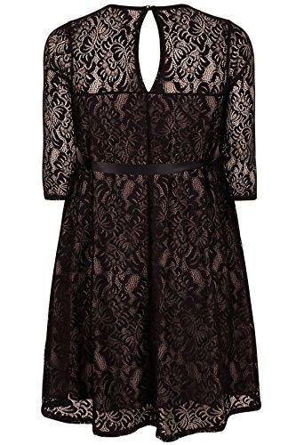 yoursclothing Plus Taille Robe en dentelle pour femme Bump it Up Maternité et Nude Noir