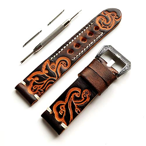 9adf102dd NICKSTON Brown with Orange 24mm Tooled Embossed Genuine Premium Leather  Strap Band Bracelet Watch Kit for