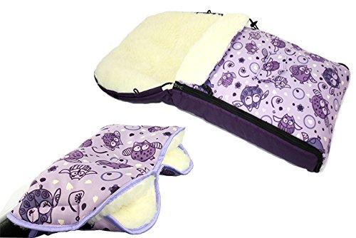 Babys-Dreams *KOMBIPAKET* MUFF + WINTERFUSSSACK 108cm - EULEN $6 - aus Lammwolle für Kinderwagen, Buggy, Radanhänger - WOLLE - Handwärmer