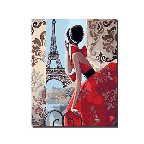 ris malerei DIY ölgemälde Farbe Set by Anzahl 16x20 Zoll romantische Muster rote Frau malerei mit inneren Rahmen,framedcanvas ()