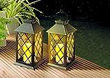 LED Solar Laterne mit flackernder LED Kerze - für realistischen Eindruck einer echten Kerze - sehr hochwertig verarbeitete Solarleuchten wetterfest für Garten Terrasse oder Balkon (Schwarz)