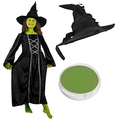 Mädchen HALLOWEEN Kleid Hexe Kostüm mit Schwarz Hexen Hut & Grün Face Paint schwarz Velours Wicked Hexen Kleid mit Silber Geflecht in small-xlarge -