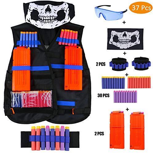 CRMICL Taktische Weste Jacke Set Nerf N-Strike Elite Set, Nerf Weste,Taktische Weste, Nerf Zubehör Set Kids Tactical Vest mit 60 er Darts + 1 Nerf Brille + 2 * 6 Weiche Darts + 1 Maske + 2 Armbände