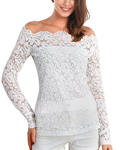 DJT Damen Langarmshirt Bluse mit Tops Floraler Spitze Weg von der Schulter oben Weiss S (Schulter-langarm-bluse)